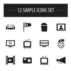 Set Of 12 Editable Movie Icons. Includes Symbols Such As Film, Reel, Broadcast And More. Can Be Used For Web, Mobile, UI And Infographic Design.