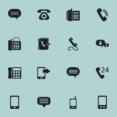 Set Of 16 Editable Phone Icons. Includes Symbols Such As Forum, Address Notebook, Smartphone And More. Can Be Used For Web, Mobile, UI And Infographic Design.