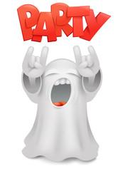 Cute phantom emoticon ghost character horns gesture