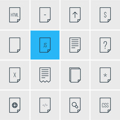 Vector Illustration Of 16 Document Icons. Editable Pack Of Search, Question, Style And Other Elements.