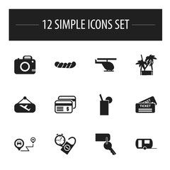 Set Of 12 Editable Trip Icons. Includes Symbols Such As Flight Signboard, Entrance, Lemonade And More. Can Be Used For Web, Mobile, UI And Infographic Design.