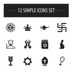 Set Of 12 Editable Religion Icons. Includes Symbols Such As Hexagram, Satan, Bible And More. Can Be Used For Web, Mobile, UI And Infographic Design.