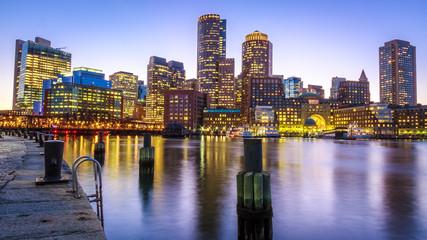 The skyline of Boston in Massachusetts, USA at night.