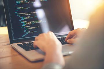 Wall Mural - Closeup coding on screen, Woman hands coding html and programming on screen laptop, development web, developer.
