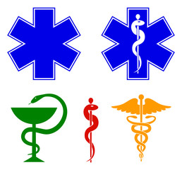 Medical international symbols set. Star of life, staff of Asclepius, caduceus, bowl with a snake. Vector