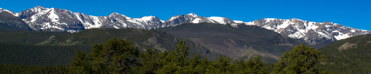 Panorama of the highest peaks in Rocky Mountain National Park in Colorado