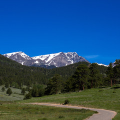 Scenic drive through Upper Beaver Meadow views Long's Peak, the highest in Rocky Mountain National Park