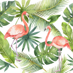 Watercolor seamless pattern of flamingo and palm trees isolated on white background.