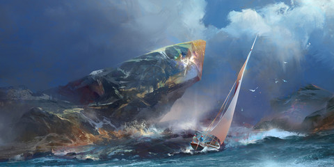 painted seascape, the storm and a yacht