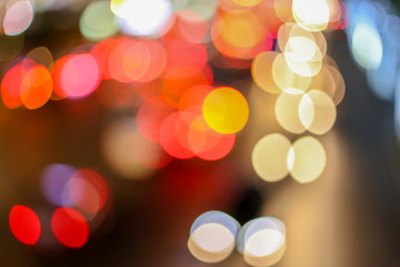 Abstract photo of Night city tower street lights bokeh background.