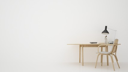 The work space furniture 3d rendering and background white decoration