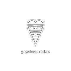 Gingerbread cookies line icon