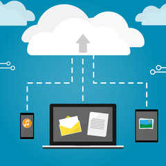 notebook phone and tablet upload cloud storage vector