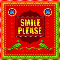 Smile Please background in Indian Truck Art style