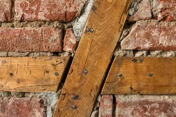 Backstein Mauer mit Holzbalken Loft