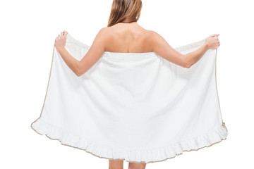 Woman with a towel sexy photo after shower on a white background