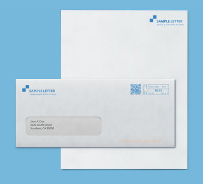 Mockup post envelope and letter paper template