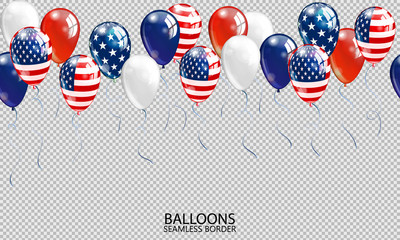 Seamless realistic ballon border on transparent background. USA patriotic colors ballons. Vector