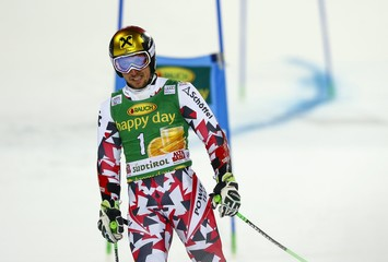 Hirscher of Austria reacts after skiing out of the course during the men's parallel giant slalom at the Alpine Skiing World Cup in Alta Badia