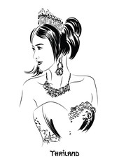 Young Asian Woman In the national costume. Vector illustration