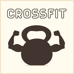 Crossfit icon. Kettlebell with strong hands.