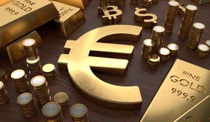 Investment and banking concept. Golden EURO symbol and coins. 3D rendered illustration.