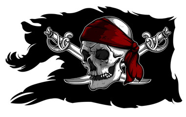 Skull and sabers on a pirate flag