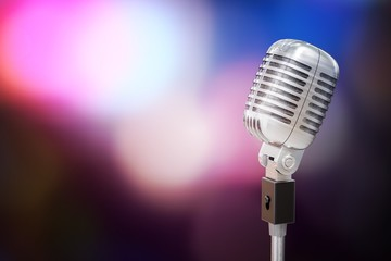 3D rendered illustration of silver retro microphone. Music and dance concept.