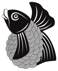 Koi Fish Black and White vector Illustration