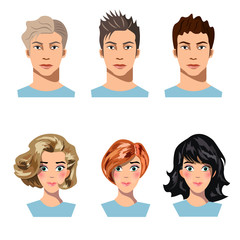 Set of men and women in different hair.