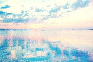 Wall Mural - Grußkarte - Segelboote im Sonnenuntergang