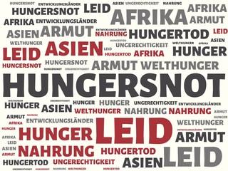 ENTWICKLUNGSLÄNDER - INDUSTRIELÄNDER - Bilder mit Wörtern aus dem Bereich Hungersnot, Wortwolke, Würfel, Buchstabe, Bild, Illustration