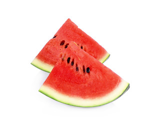 Slice of watermelon fruit isolated on white background