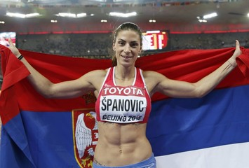 Spanovic of Serbia celebrates winning bronze in women's long jump final at 15th IAAF World Championships in Beijing