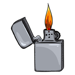 Vector Cartoon Retro Lighter with Flame