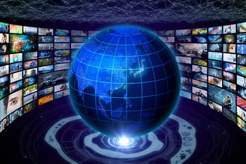 worldwide internet streaming service concept. 'elements of this image furnished by NASA'. 3D rendering.