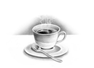 Coffee cup pencil drawing