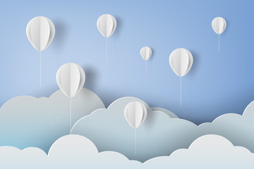 paper art of white ballons on blue sky background,vector