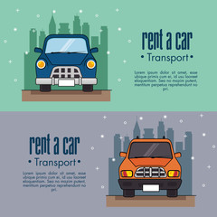 Rent a car infographic with front view of vehicles and city skyline behind over teal and lilac background vector illustration