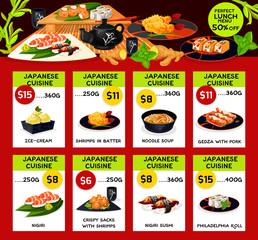Vector lunch menu templates for Japanese cuisine