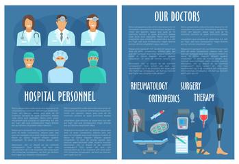 Medical vector brochure of hospital doctors