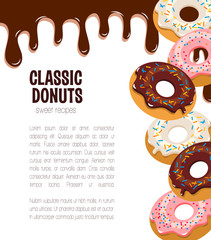 Vector poster for donut cakes and desserts