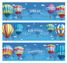 Vector banners for hot air balloon tour or show