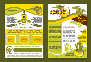 Olive oil extra virgin product vector posters set