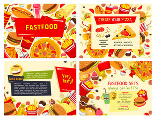 Fast food restaurant meals vector posters set