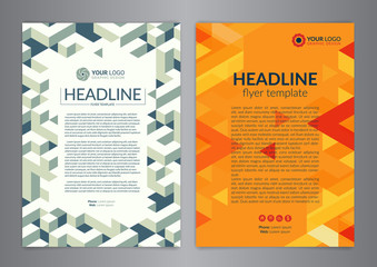 Business brochure flyer design layout template with geometric pattern. Modern Backgrounds. Vector illustration.