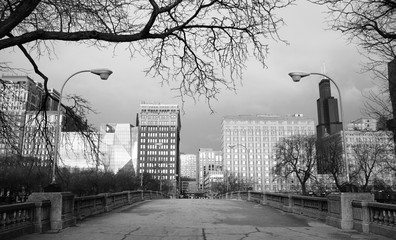 Traditional Black and White Downtown Chicago Skyline
