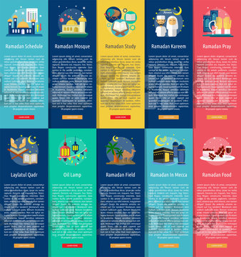 Ramadan and Eid Mubarak Vertical Banner Concept