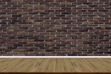 Abstract brick wall and wood floor in room for artwork , Interior design or montage display your product.
