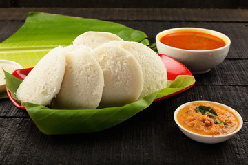 Delicious breakfast Soft idli and smabar.